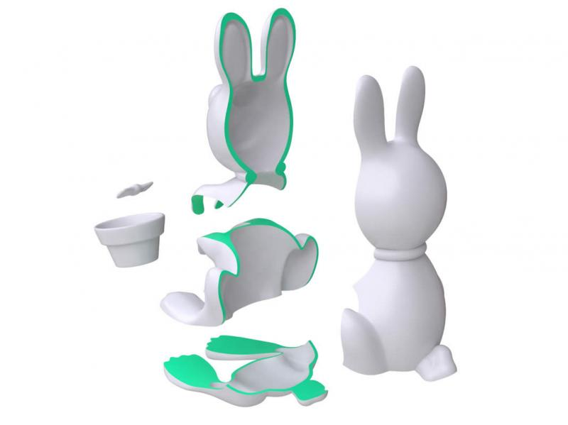 Rabbit Toothbrush Holder exploded view